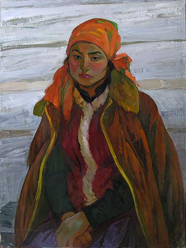Girl of Altai Mountains portrait or figure - oil painting