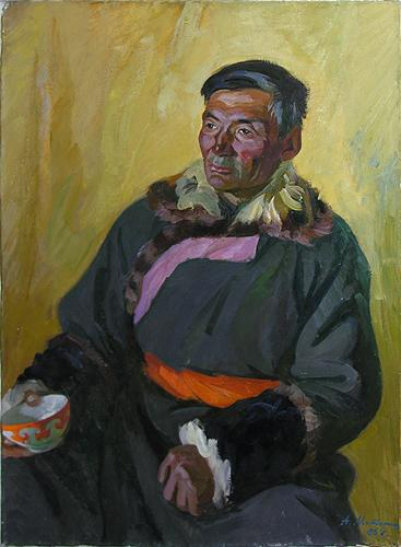 Shepherd portrait or figure - oil painting