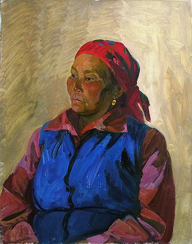 Wife of a Shepherd  portrait or figure - oil painting