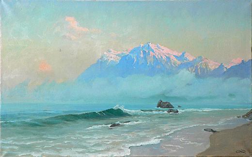 Прибой морской пейзаж - масло живопись