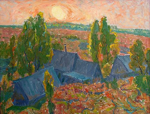 Orange Sunset rural landscape - oil painting