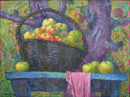 Spases. Apple Spas (triptych) still life - oil painting