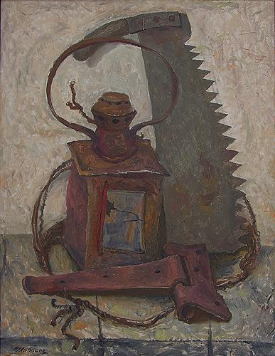 Old Things still life - oil painting