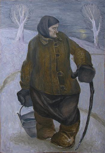 Mother genre scene - oil painting