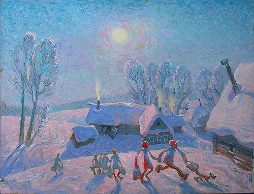 Christmas genre scene - oil painting