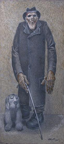 White Cane genre scene - oil painting