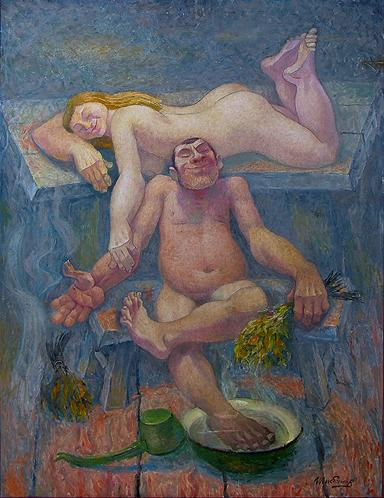 Russian Bath genre scene - oil painting