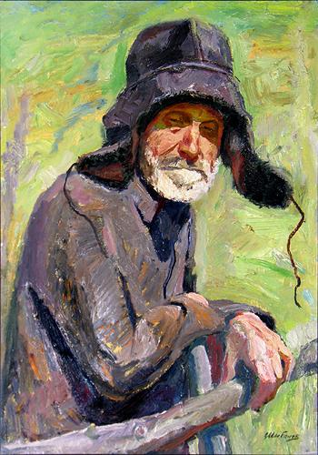 Holy Fool portrait or figure - oil painting