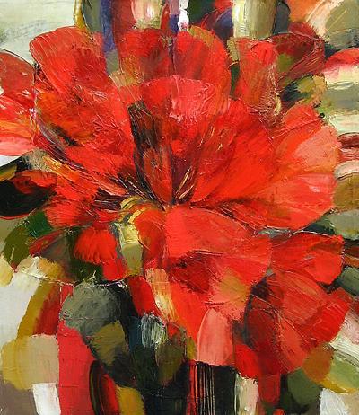 Red Flower flower - oil painting