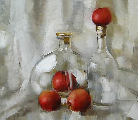 White and Red still life - oil painting