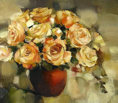 Yellow Roses flower - oil painting
