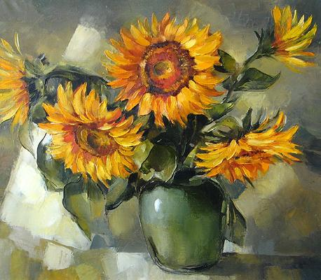 Sunflowers flower - oil painting