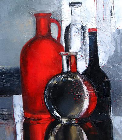 Red and Black still life - oil painting
