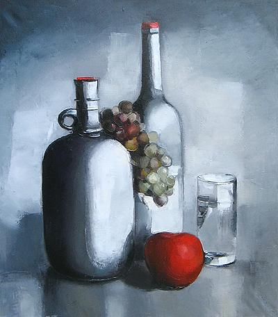 Still Life with a Red Apple still life - oil painting