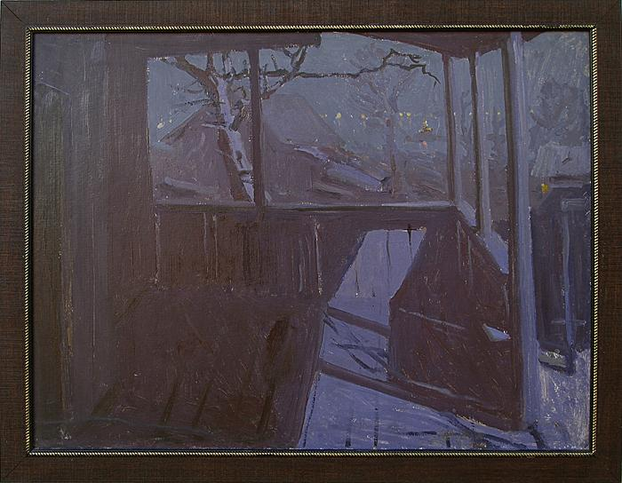 Lilac Study night landscape - oil painting