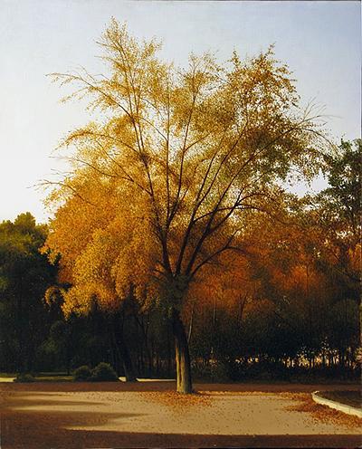 Дерево городской пейзаж - масло живопись