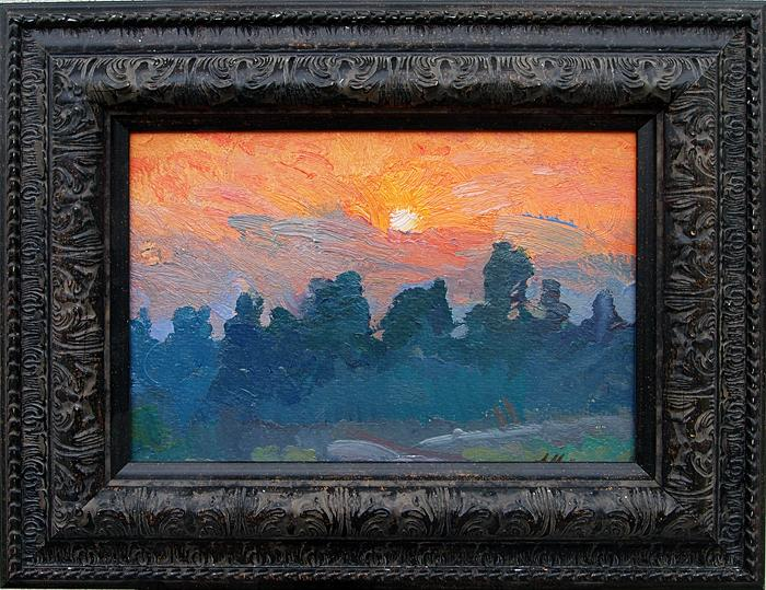 Sunrise summer landscape - oil painting