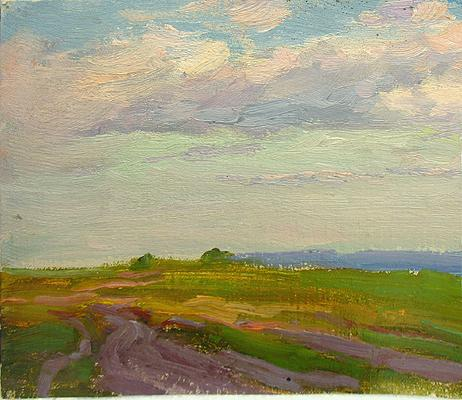 Landscape summer landscape - oil painting