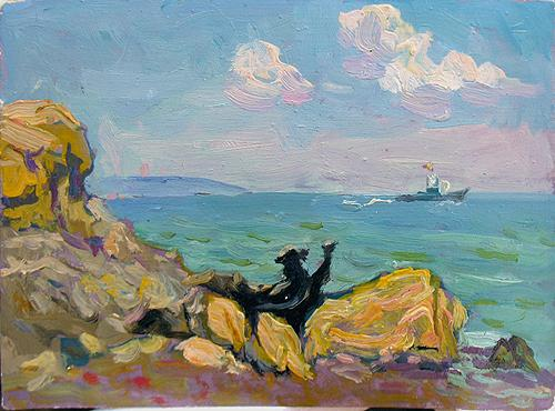 From the Shore seascape - oil painting