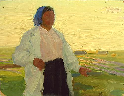 Study genre scene - oil painting
