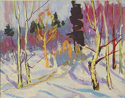 Winter Wood winter landscape - gouache painting