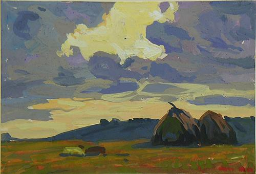 Study summer landscape - tempera painting