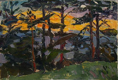 Закат летний пейзаж - масло живопись