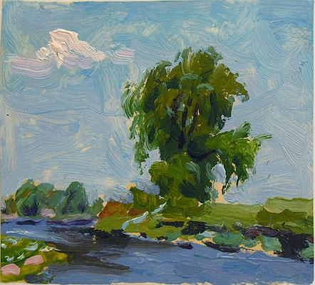 Summer Day. Study summer landscape - oil painting
