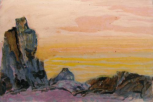 Study abstract landscape - tempera painting