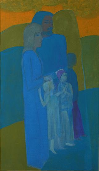 Family genre scene - acrylic painting