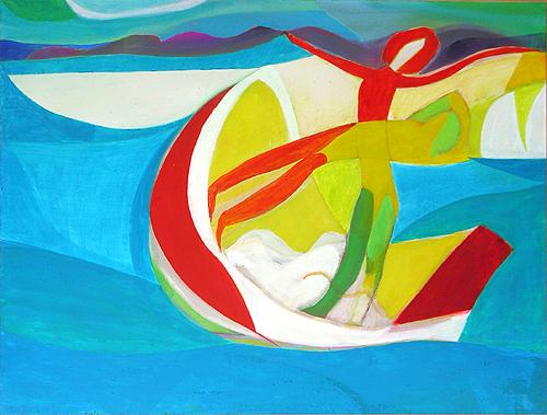 Two in a Boat abstract art - acrylic painting