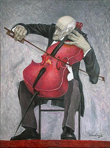 Mstislav Rostropovich portrait or figure - oil painting