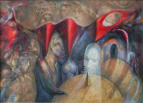 At the Round Table surrealist art - oil painting