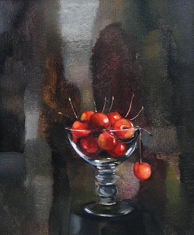 Cherry still life - oil painting
