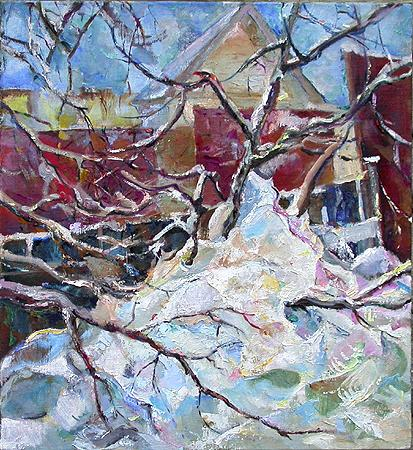 Apple Tree in Snow rural landscape - oil painting
