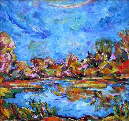 Осень. Синь осенний пейзаж - масло живопись