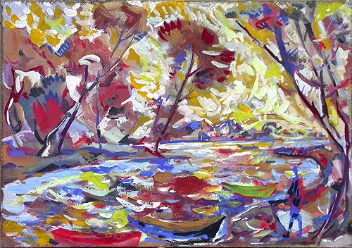 In the Creek autumn landscape - tempera painting