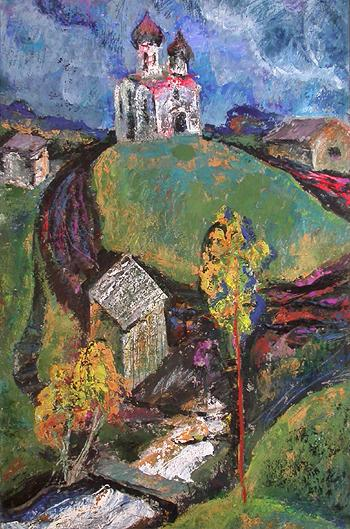 Landscape with a Temple abstract art - oil painting