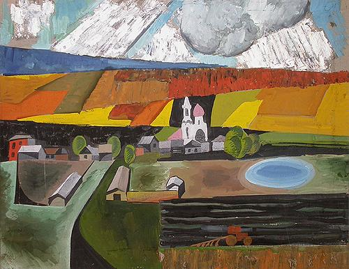 Landscape with Church abstract art - tempera painting