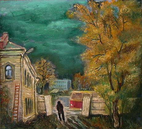 Last Tram cityscape - oil painting