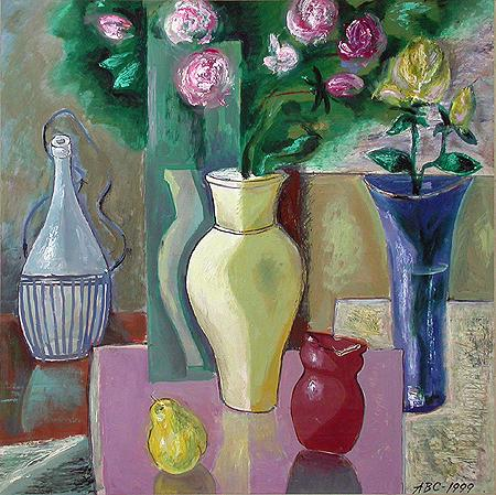 Still Life with Roses flower - oil painting