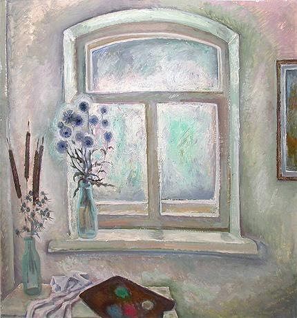 Window in the Studio abstract art - oil painting