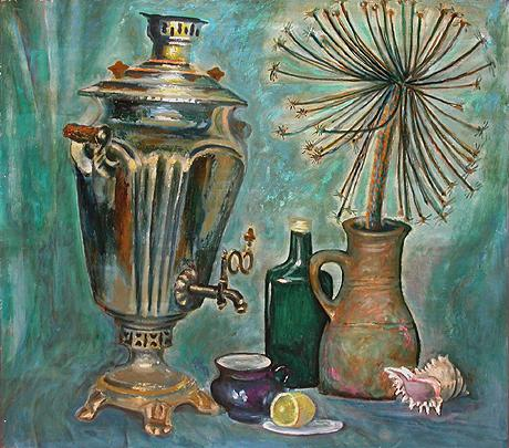 Still Life with Samovar abstract art - oil painting