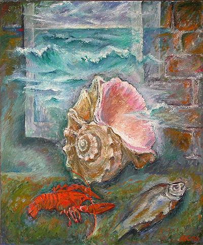 Sea Shell marine artifacts - oil painting