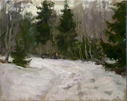 Spring in the Forest winter landscape - oil painting