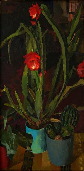 Cactus in Blossom flower - oil painting