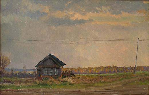 In the Suburbs rural landscape - oil painting