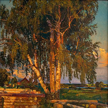 Evening in Shadriga Village rural landscape - oil painting