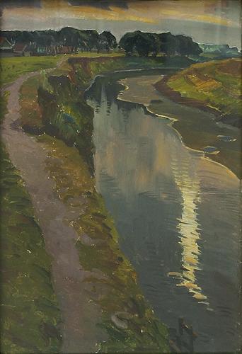 Evening summer landscape - oil painting
