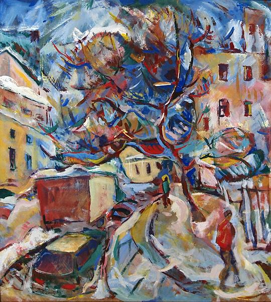 Tree in the City cityscape - tempera painting